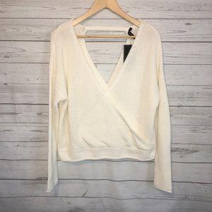 Moon&Madison White V Neck Knot Sweater M NWT
